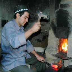 Knife maker at work