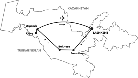 Uzbekistan guaranteed departure tour map