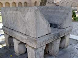 Marble stand for the Koran in the courtyard of Bibi-Khanim mosque (Samarkand)